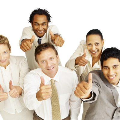 Top view of a successful multi-ethnic business group